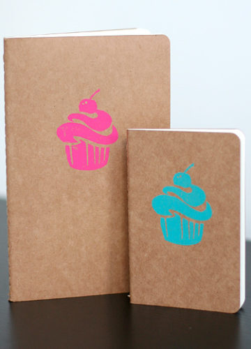Block Printed Cupcake Moleskine Notebook