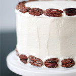 Banana Cake with Praline Filling and White Chocolate Ganache