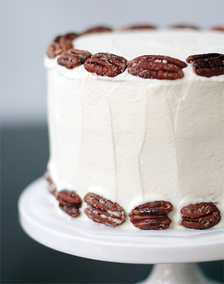 Banana Cake With Praline Filling And White Chocolate