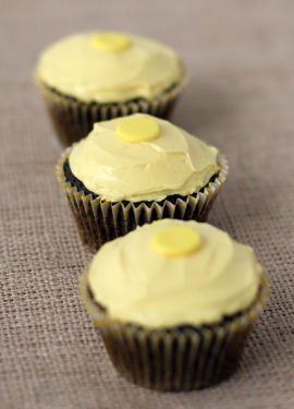 Chocolate Peanut Honey Cupcakes with Honey Vanilla Buttercream