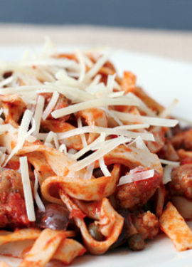 Spaghetti with Chorizo and Olives