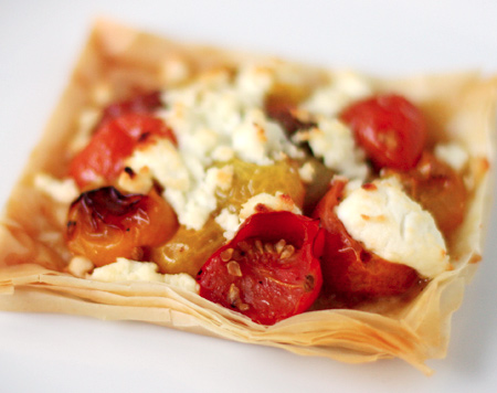 Oven Roasted Tomato and Goat Cheese Phyllo Tarts