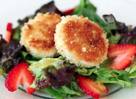 Fried Goat Cheese and Strawberry Salad with Orange Rose-Nectar Vinaigrette