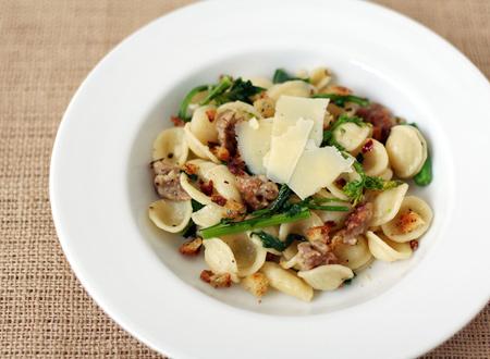 Orecchiette with Italian Sausage, Broccoli Rabe and Crunchy Garlic Breadcrumbs