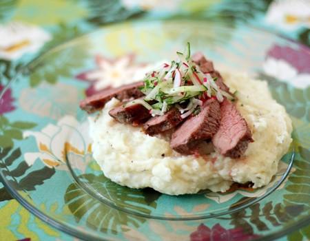 Steak with Cucumber and Radish Salsa