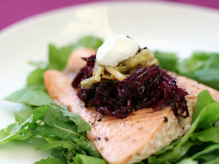 Roasted Salmon with Rhubarb and Red Cabbage