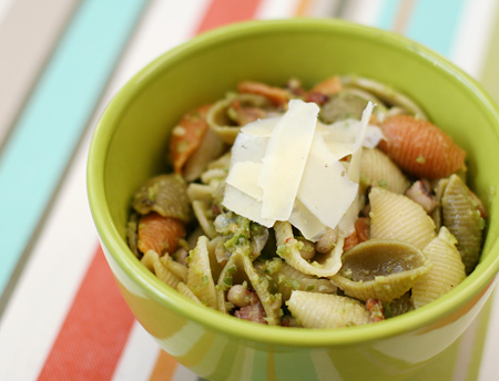 Shell Pasta with Garlic Scape Pesto, Bacon, and Black Eyed Peas