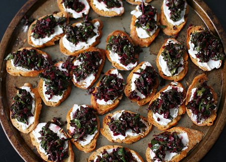 Beet Green and Goat Cheese Crostini