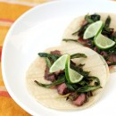 Garlic-Marinated Steak Tacos with Cebollitas Asadas