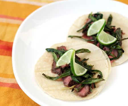 Garlic-Marinated Steak Tacos with Cebollitas Asadas