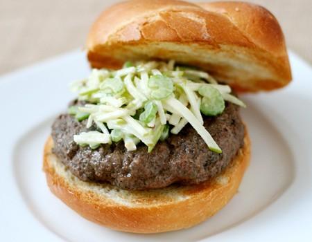 Portobello Buffalo Burgers with Celery Apple Slaw