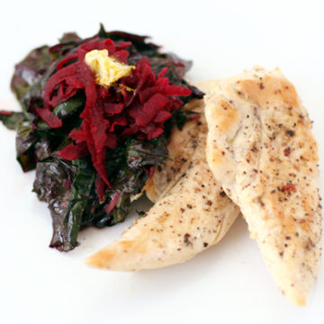 Chicken, Grated Beets, and Beet Greens with Orange Butter