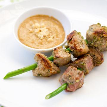 Garlic Scape Beef Satay