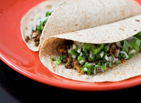 Lentil Tacos with Onion Jalapeño Salsa