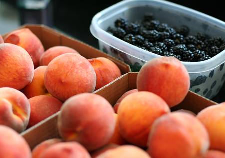 Fresh Picked Peaches and Blackberries