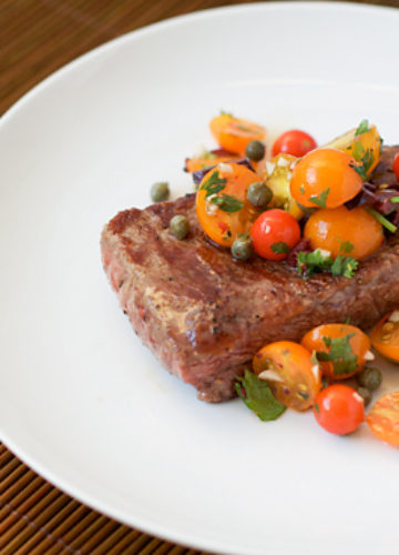 Seared Rib-Eye Steak with Tomato-Caper Relish