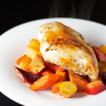 Apricot Roast Chicken with Root Vegetables
