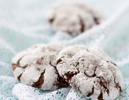 Chocolate Creme de Menthe Crinkle Cookies