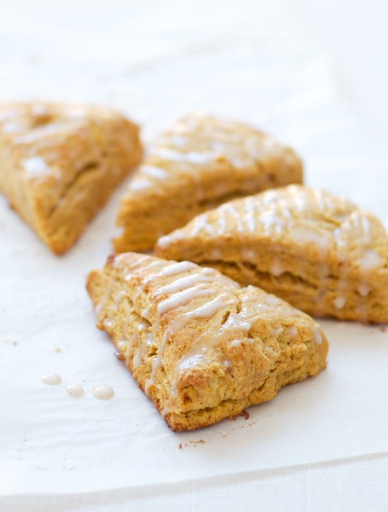 Pumpkin Scones with Cinnamon Sugar Glaze