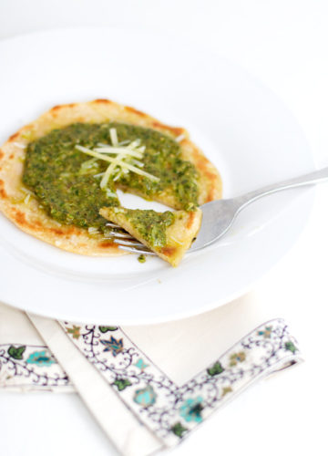 Italian Testaroli with Pesto