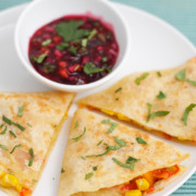 Vegetarian Quesadillas with Onion-Cranberry Salsa
