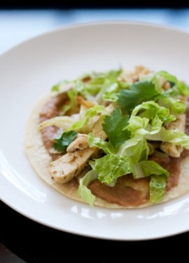 Coriander Chicken Tostadas with Refried Beans and Grilled Fennel
