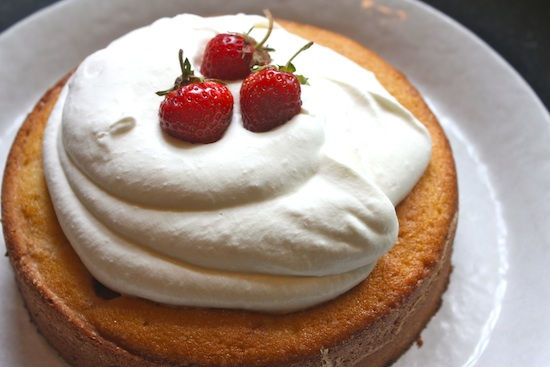 Strawberry Buttermilk Cake with Preserved Whole Strawberries