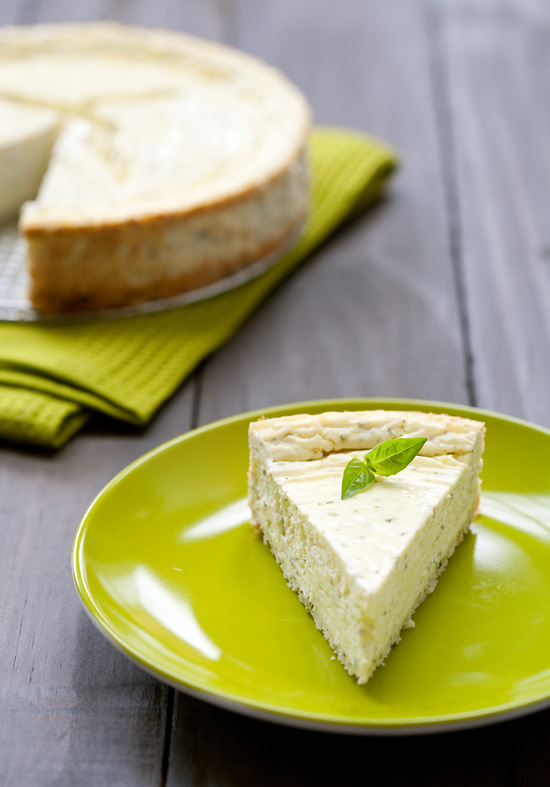 Savory Basil and Goat Cheese Cheesecake