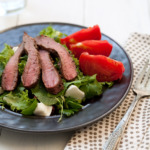Pepper Crusted Steak Salad with Heirloom Tomato and Burrata