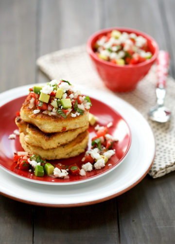 Fresh Corn Cakes with Avocado and Goat Cheese Salsa