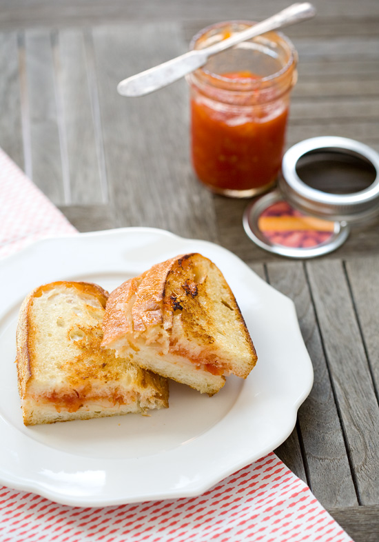 Grilled Cheese with Tomato Peach Jam