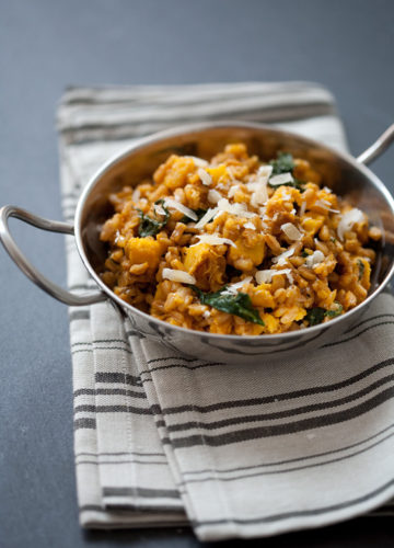 Farro Risotto with Acorn Squash and Kale