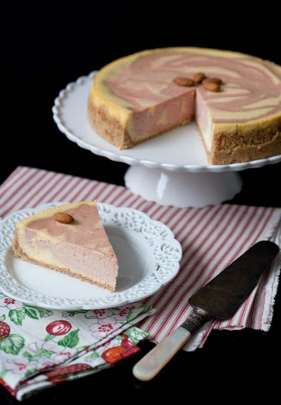 Strawberry Almond Goat Cheese Cheesecake