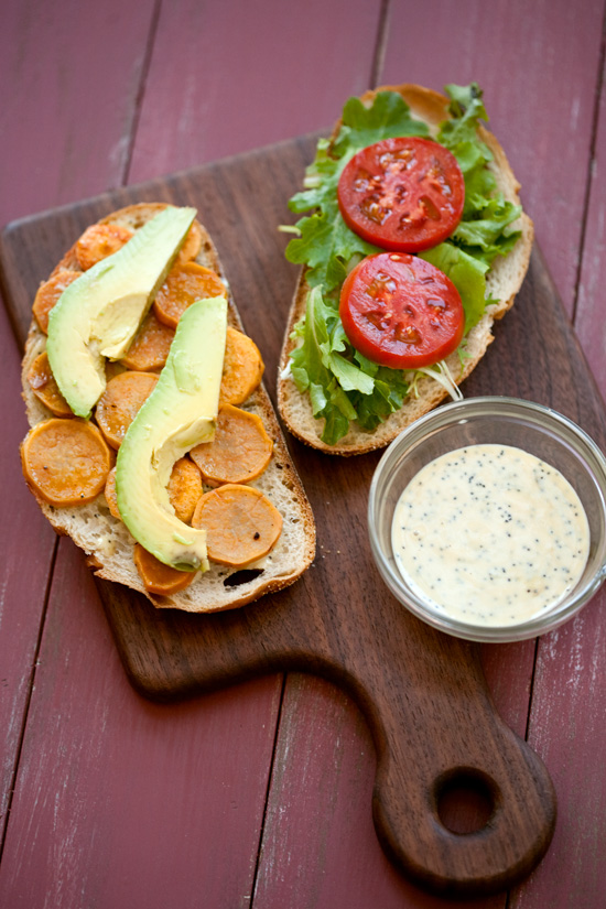 Sweet Potato and Avocado Sandwiches with Poppy Seed Spread