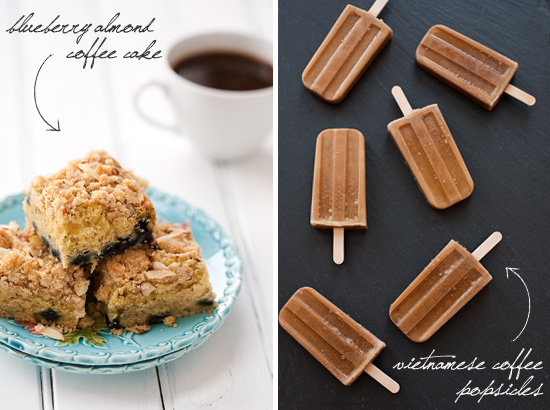 Blueberry Almond Coffee Cake and Vietnamese Coffee Popsicles