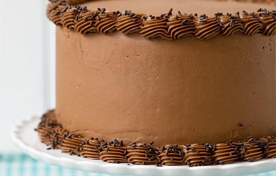 Bourbon Layer Cake with Bourbon Ganache and Milk Chocolate Buttercream