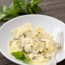 Fresh Corn Ravioli with Herb Cream Sauce