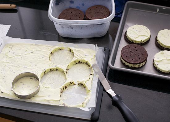 Creme de Menthe Ice Cream Sandwiches