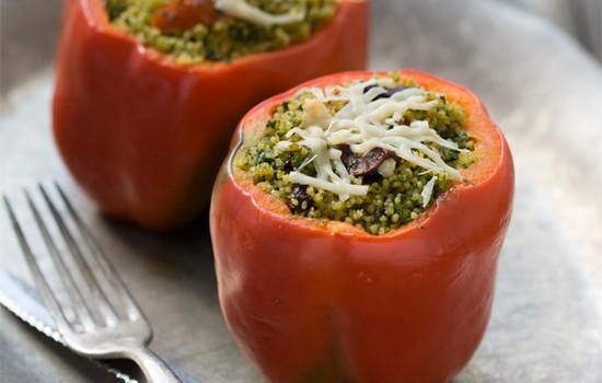 Kale Pesto Couscous Stuffed Peppers