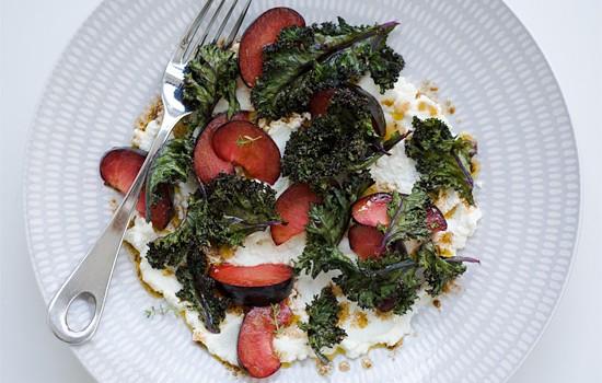 Crispy Kale, Plum, and Ricotta Salad
