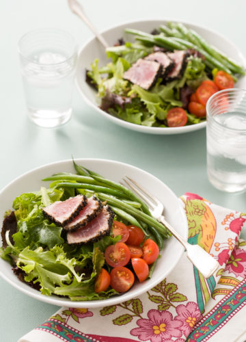 Asian Niçoise Salad with Seared Black Sesame Tuna