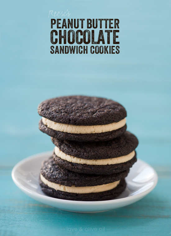 Reese's Chocolate & Peanut Butter Sandwich Cookies | Love and Olive ...