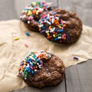 Chocolate Dipped Brownie Cookies with Rainbow Sprinkles