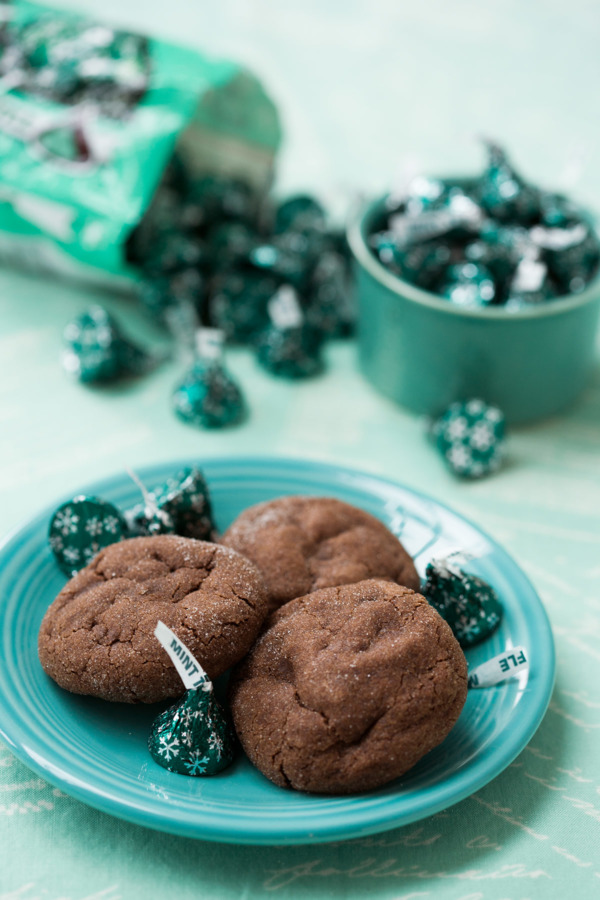 Chocolate Cookies With Mint Truffle Kisses
