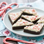 Fudgy Peppermint Bark Brownies with White Chocolate and Peppermint