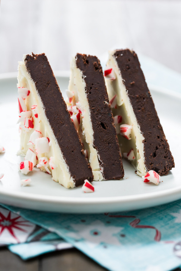 Fudgy Dark Chocolate Brownies with White Chocolate Peppermint Bark Topping