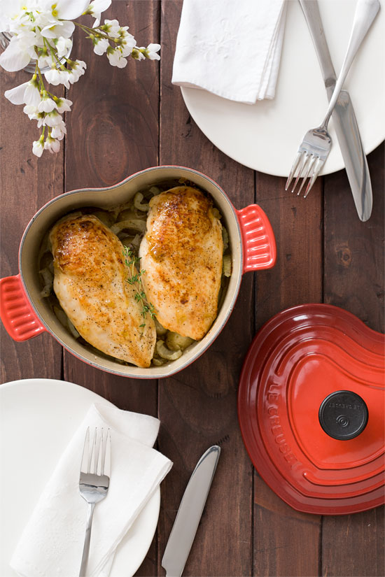 Le Creuset: Fig and Goat Cheese Stuffed Chicke Breasts