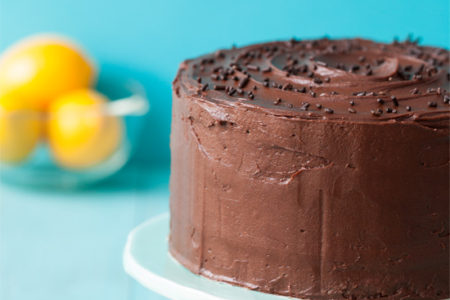 Lemon Layer Cake with Chocolate Fudge Frosting