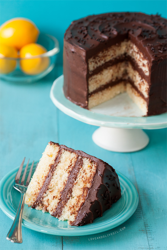 Lemon Layer Cake with Chocolate Fudge Frosting Love and Olive Oil