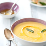 Roasted Garlic and Parsnip Soup with Sage Lemon Butter